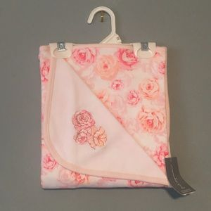 First impressions pink rose baby blanket cotton
